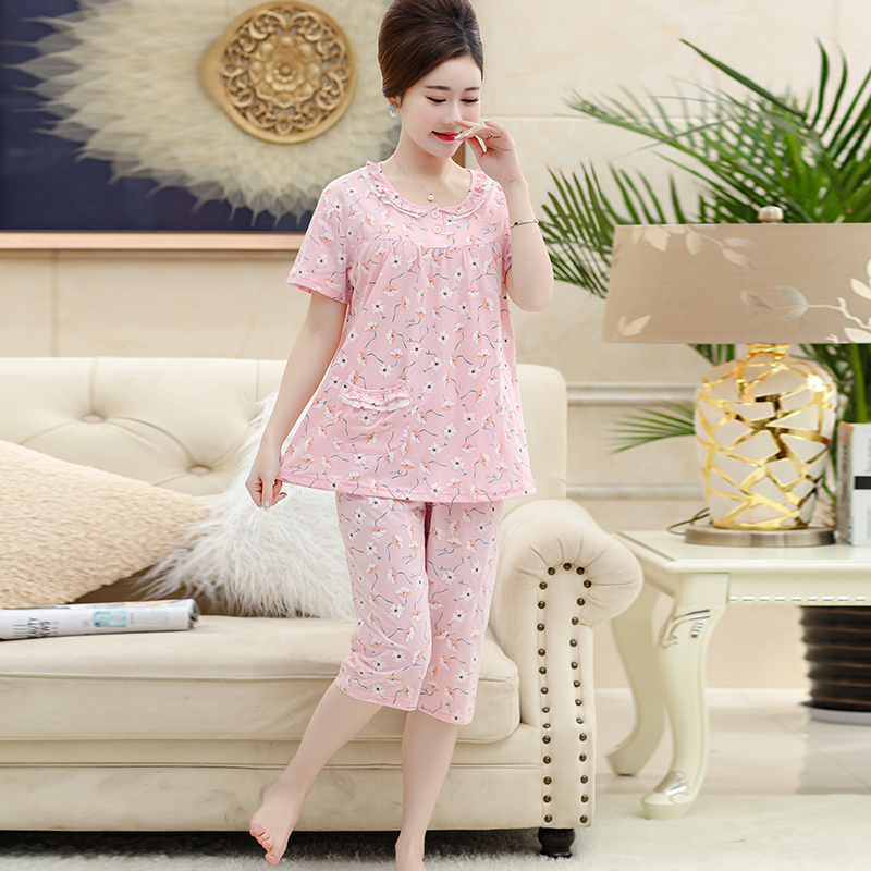 Women Clothes Small Floral Summer Pajamas Short-sleeved Knit Casual Outerwear Sleepwear Night For Middle-aged Woman