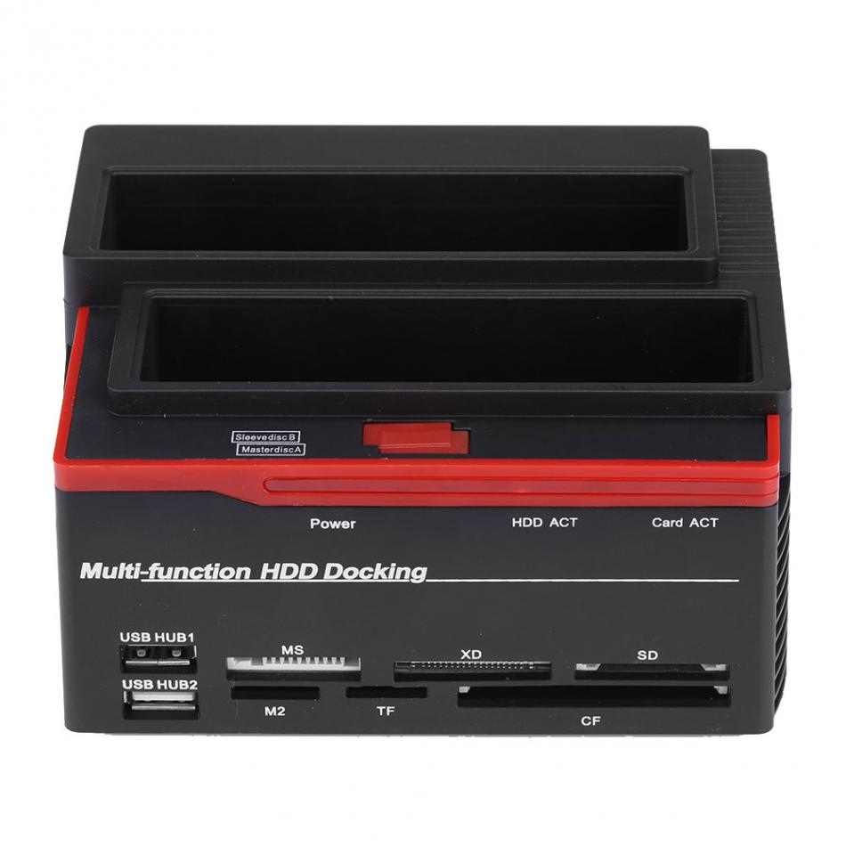 2.5/3.5 SATA IDE HDD Docking Station Clone Hdd USB 2 ports USB 2.0 Hub MS/M2/XD/CF/SD/TF Lecteur de Carte US/UK/EU Plug