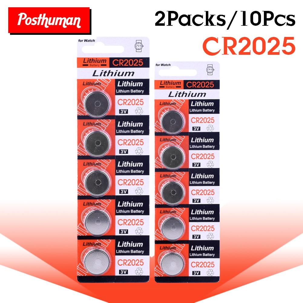 POSTHUMAN CR2025 CR 2025 3V Button Coin Cell Battery 10PCS * CR2025 ECR2025 DL2025 BR2025 2025 KCR2025 L12 Lithium Batteries
