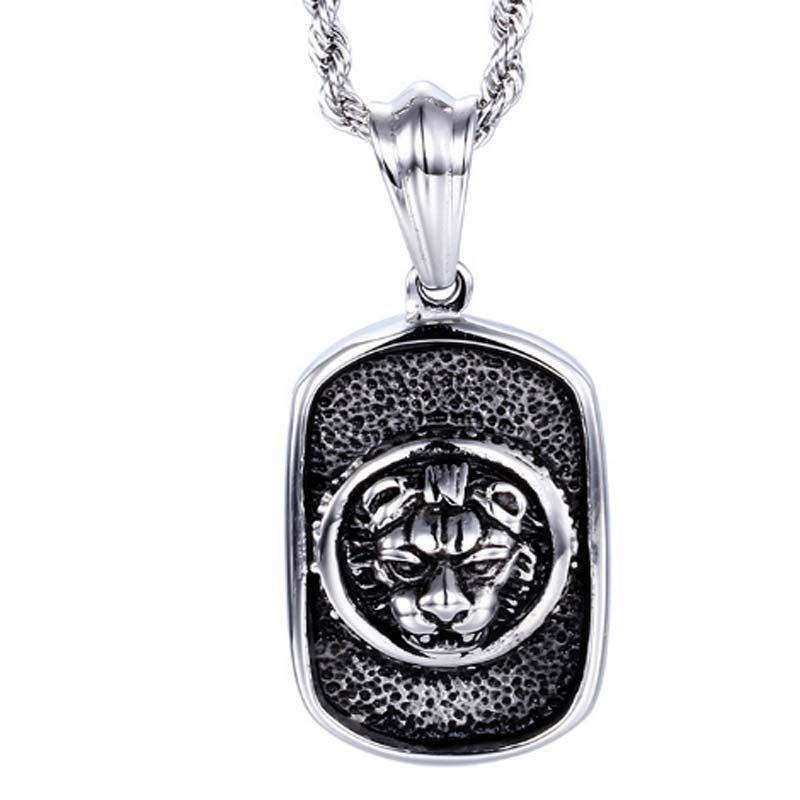 Titanium Tag Pendant Tiger Necklace Stainless Steel Jewelry Punk Style Cloth Accessories ...