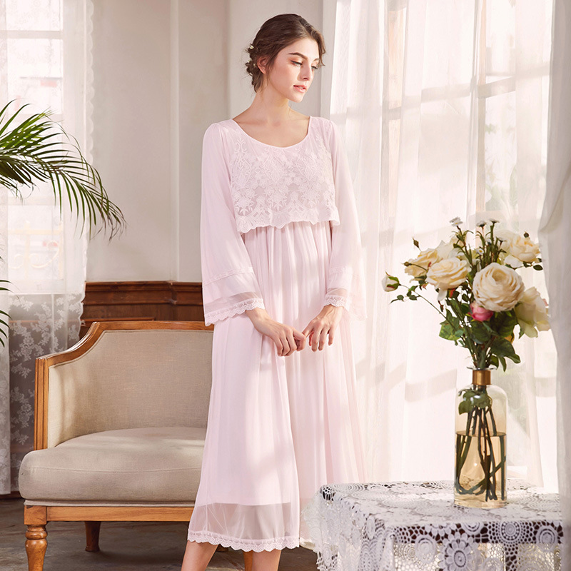 все цены на Pregnant Womens Long Sleeping Dress Nightgown Long Sleeve Maternity Nightdress Elegant Vintage Nightgowns Lace Home Dress CA242