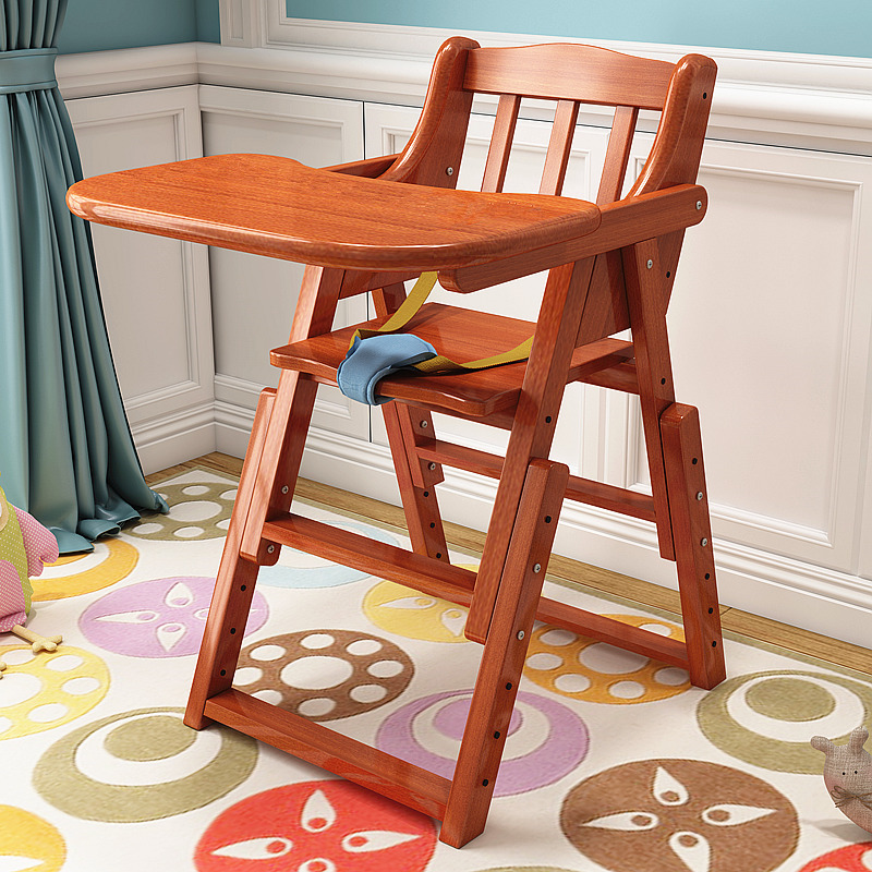 Baby High Chair Baby Feeding Eating Dinning Chair Wooden Portable Chair Foldable Adjust Height Seat