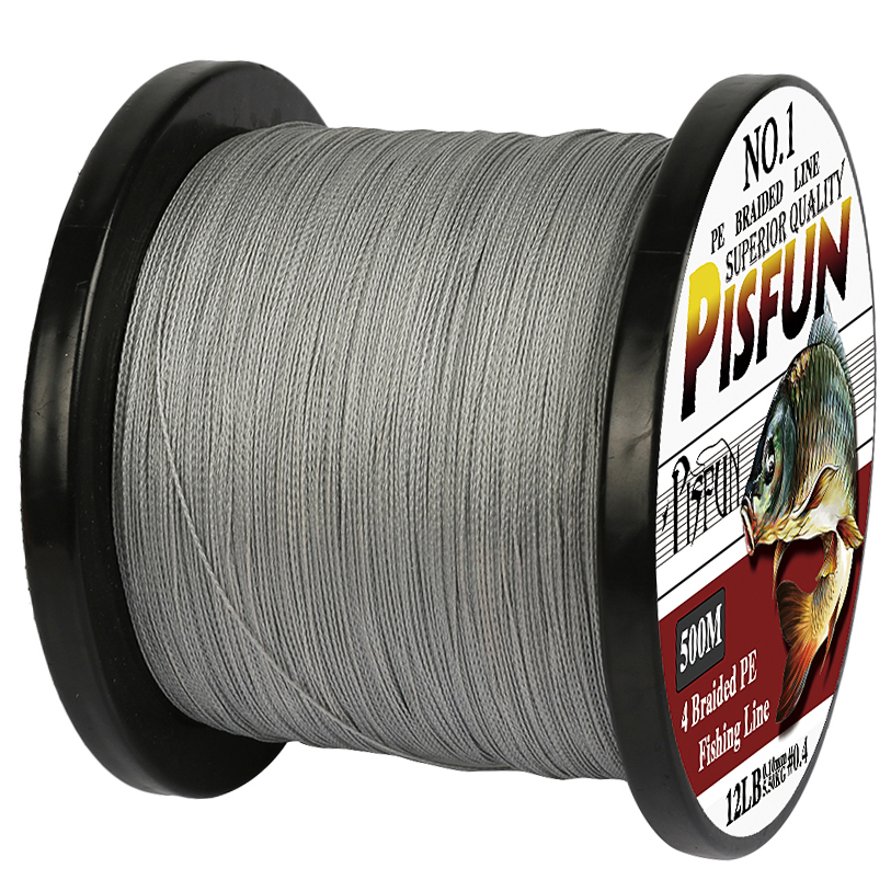 Pisfun brand 4x braided fishing line 500m strong for 20 lb braided fishing line