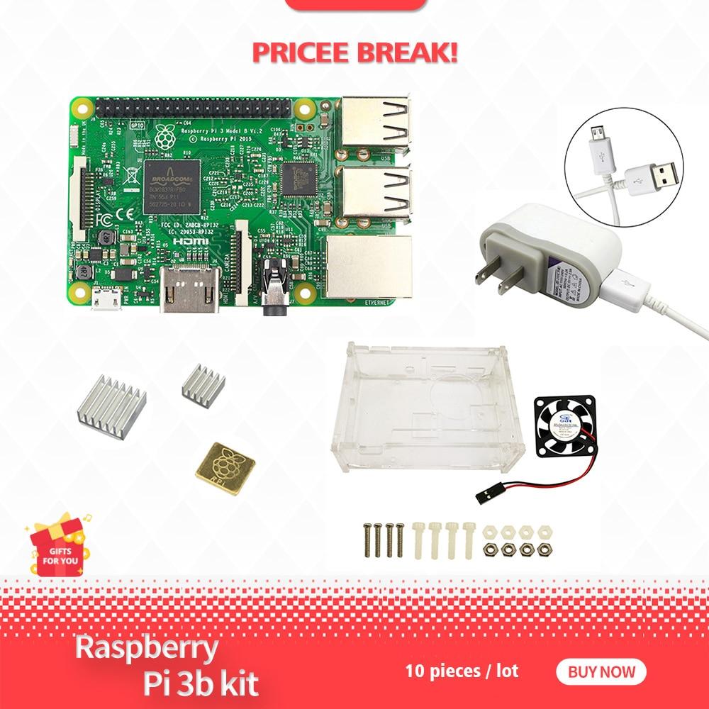 Raspberry Pi 3 Kit comprend Raspberry PI 3 modèle B + 5 V 2.5A US alimentation + boîtier + dissipateur de chaleur pi 3 avec WIFI et Bluetooth