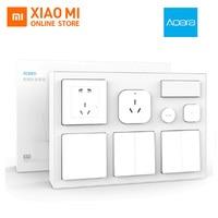Xiaomi Aqara Smart Air Conditioner Mate Body Temperature Humidity Sensor Wall Socket Switch 2pcs Wireless Switch Bedroom Kit