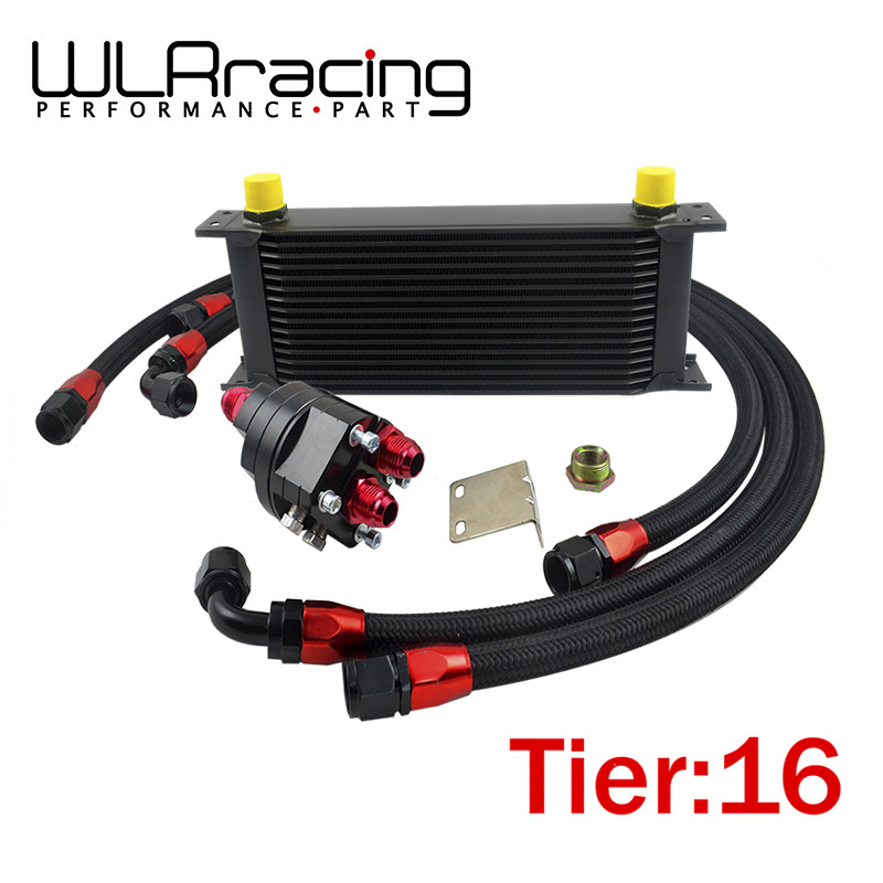 WLR- UNIVERSAL 16 ROWS ENGINE OIL COOLER+ALUMINUM OIL FILTER/COOLER RELOCATION KIT+3X BLACK NYLON BRAIDED HOSE LINE+ADAPTER orient ut0d001b