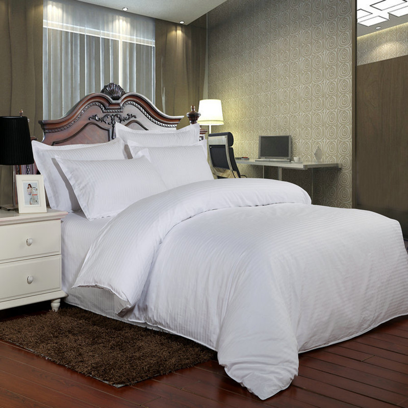 Image 2 - 100% Cotton bedding set  satin strip Luxury White Hotel bed linen Twin Queen Full King Size Duvet cover&Fitted sheet&Pillowcase-in Bedding Sets from Home & Garden
