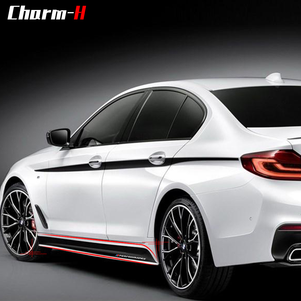 2Pieces Newest M Performance Side Skirt Sill Racing Stripe Vinyl Decal Sticker For BMW G30 5 Series 2017 2018