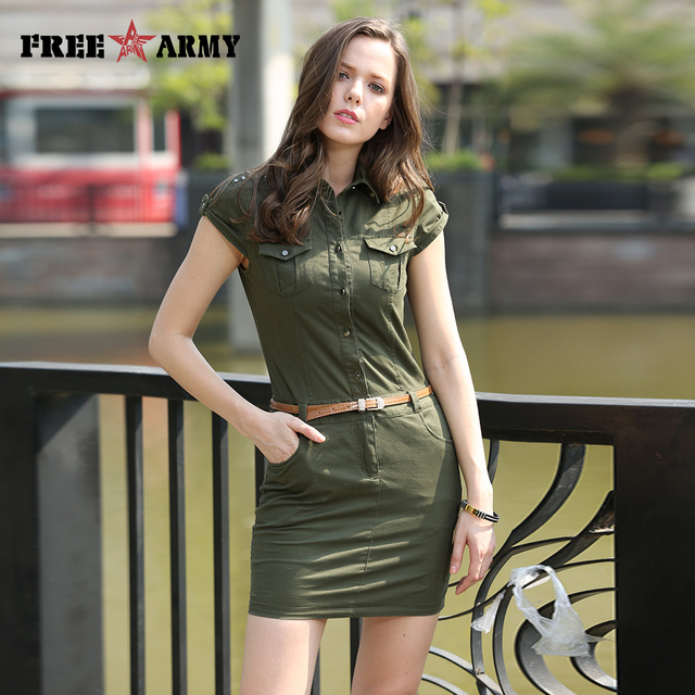 36ecfaa5a7ea New Fashion Women Set Summer Dress Short Sleeve Sexy Mini Dresses women  Army Green Printing uniforms Plus Size GS-8556A