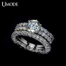 UMODE Fashion Bijoux Rhodium plated 1.5ct AAA CZ  3pcs/set Halo Wedding Rings Sets For Women Luxury Jewelry AUR0002