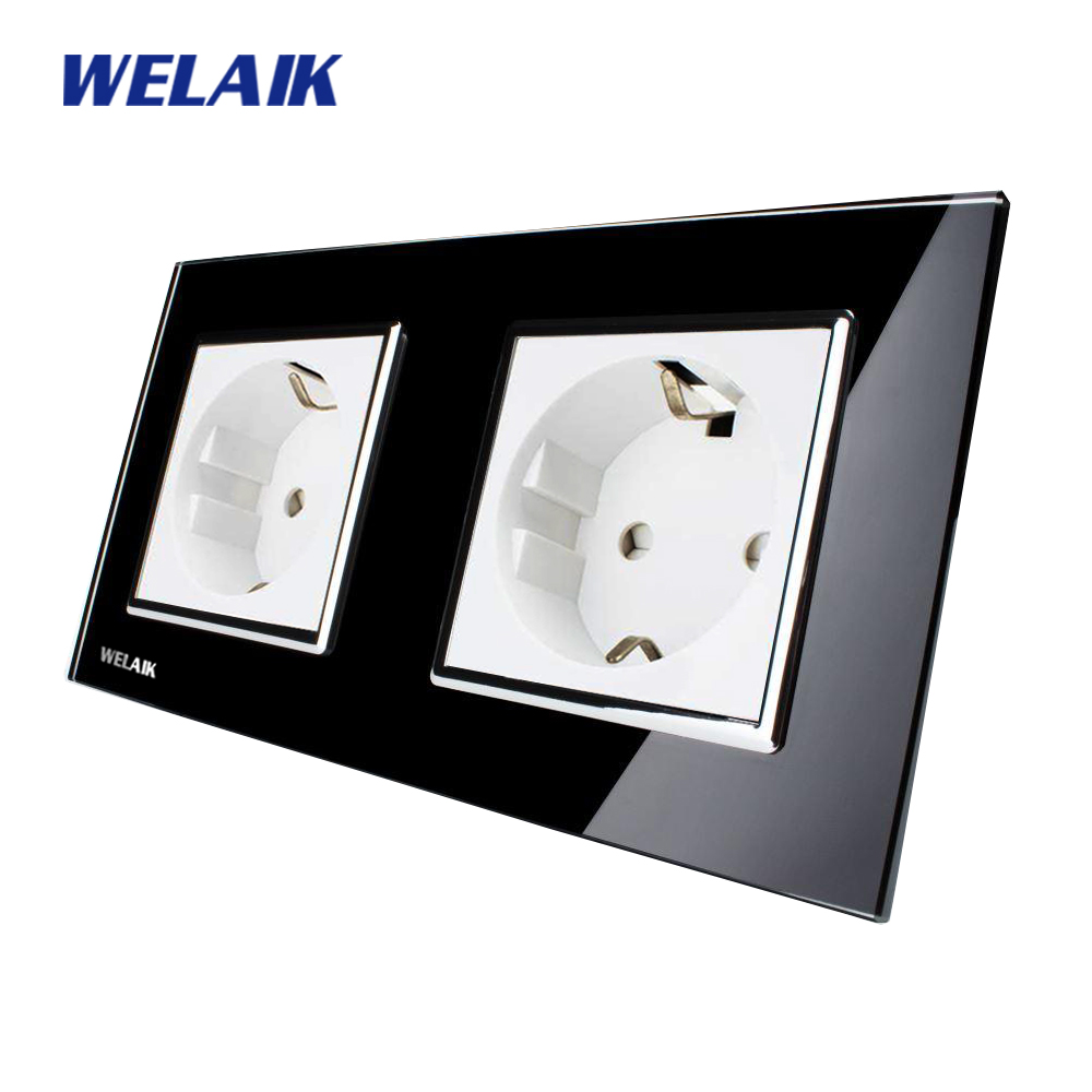 WELAIK Glass Panel Wall Socket Wall Outlet Black European Standard Power Socket AC110~250V A28E8EB welaik glass panel wall socket wall outlet white black european standard power socket ac110 250v a38e8e8ew b