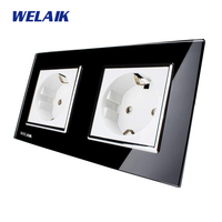 WELAIK Glass Panel Wall Socket Wall Outlet Black European Standard Power Socket AC110 250V A28E8EB