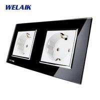 WELAIK Glass Panel Wall Socket Wall Outlet Black European Standard Power Socket AC110 250V A28E8EB