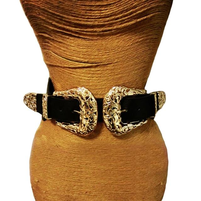 Ремень с металлической пряжкой Женский, модный винтажный кожаный пояс, эластичный дизайнерский пикантный широкий пояс с золотым отверстием