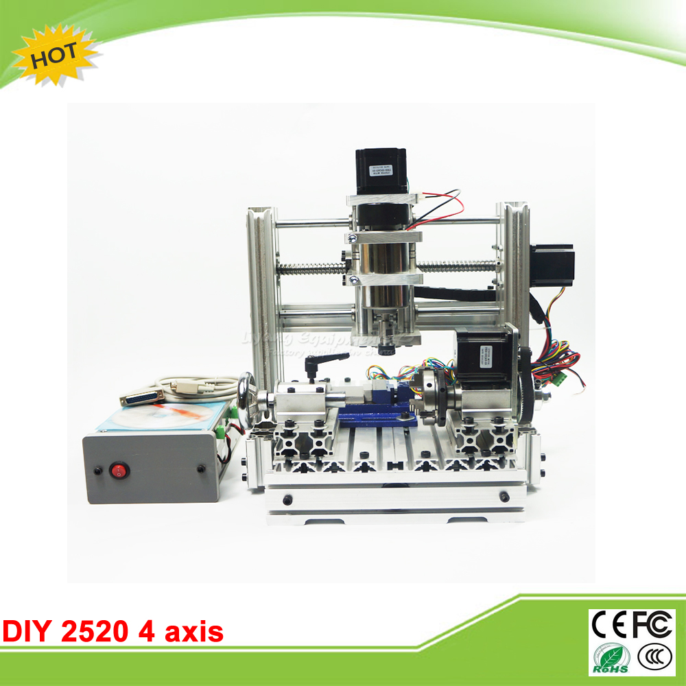 CNC router Engraving machine  DIY 2520 4axis Engraving Drilling and Milling Machine cnc 5axis a aixs rotary axis t chuck type for cnc router cnc milling machine best quality
