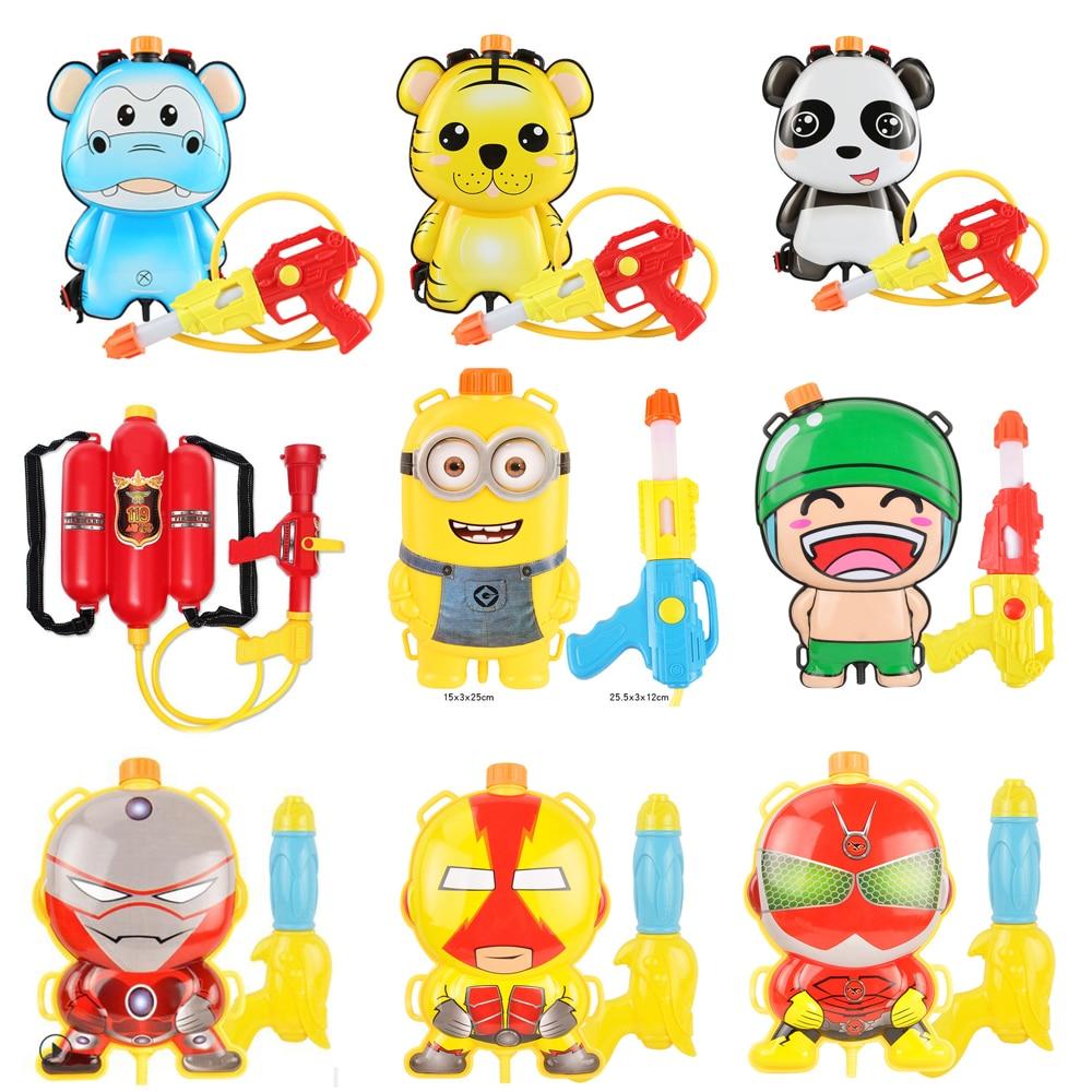 A Variety Of Styles To Choose Children Cute Cartoon Fireman Backpack Nozzle Water Gun Beach Outdoor Toy Spray Gun Summer Toys