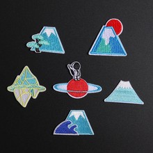 Mount Tree Fuji Japan Patches Sun Rise Sinks  in the Mountain Appliques Iron On Clothes Decor Space Astronaut Badges for Kids amanda sun rise