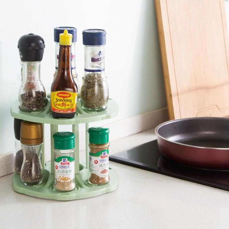FHEAL 2 Tiers 360 Degree Rotating Beverage Can Storage Rack Kitchen Spice Jar Condiment Bottles Tray Drink Organizer Holder (6)