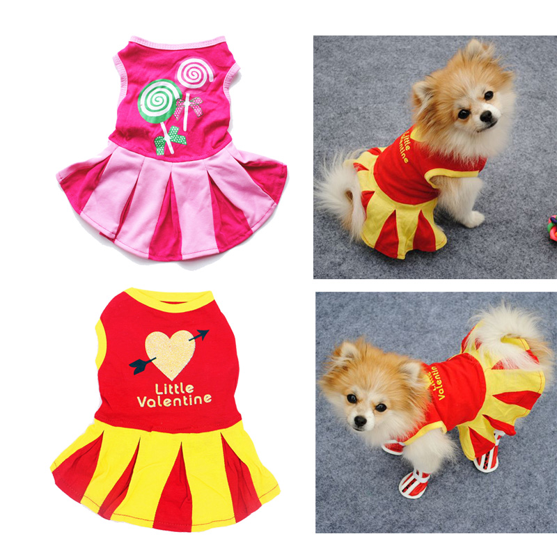 Kawaii Pet Dog Summer Dresses Cotton Dogs Cheerleading Jerseys Shirt Dog Clothes Mini NBA Cheerleaders Skirts Letter Pattern image