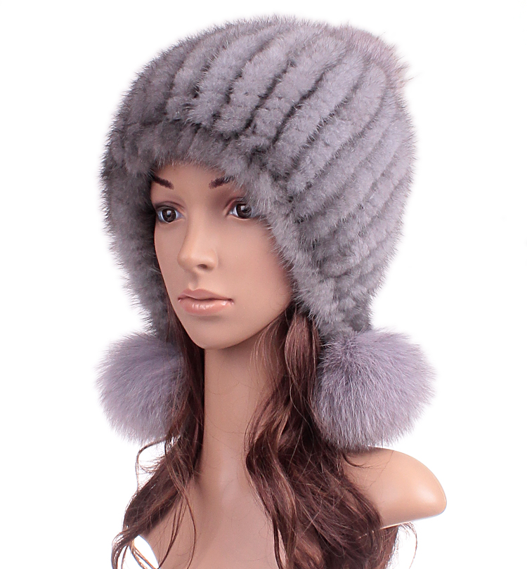 Woman Winter Plus Size Casual Thick Stretch Bulb Weaving Mink   Skullies     Beanies   Fur Hats Lady Protect Ear Warm Fox Fur Caps