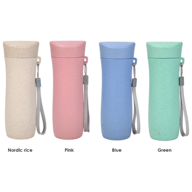 300mL Wheat Straw Drinking Cup Eco Friendly Tea Mug Portable Water Bottle Plastic Healthy Drink Bottle Multi Functional Bouble-in Water Bottles from Home & Garden on AliExpress