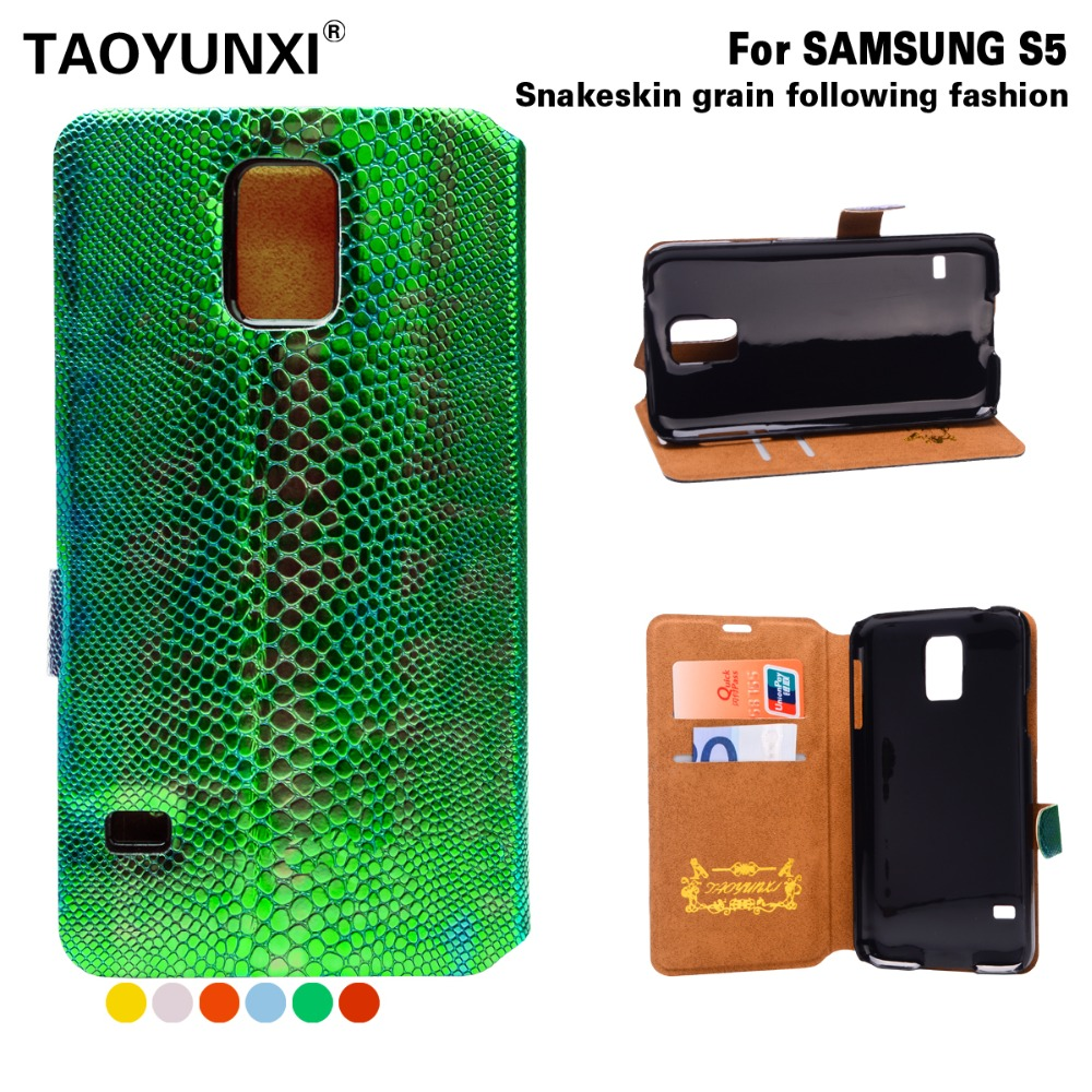 New Coming Snake Phone Cases for Samsung Galaxy SV S5 I9600 G900 G900F PU Cell Phone Leather Case Wallet Style Cover Available