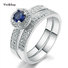 Eleple Couple Rings Set Blue zircon for women engagement Wedding ring fashion Accessories jewelry supplier VSR007