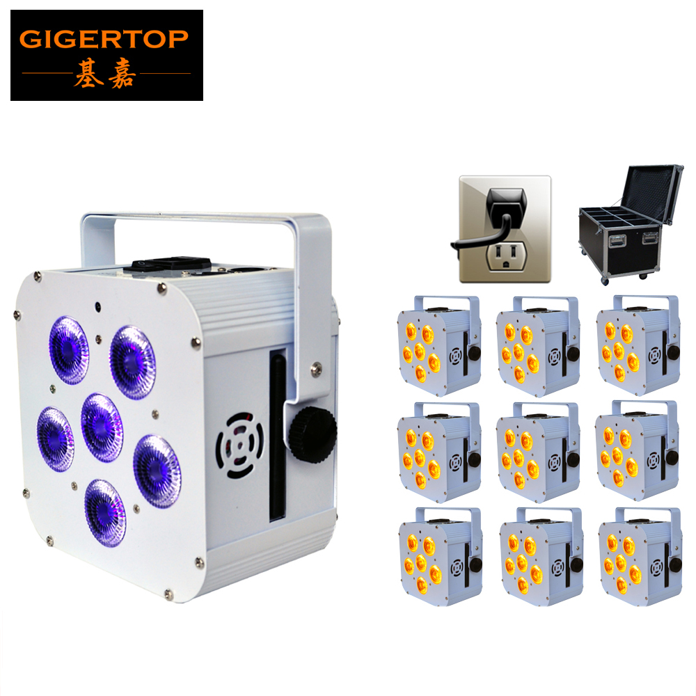 Freeshipping 10in1 Road Heavy Duty Flight Case Charging Power Socket Packing Battery Stage Light Flat Wireless 6*18W RGBWAUV freeshipping 10in1 charging flightcase packing 12 18w stage wireless battery flat led par light rgbaw uv 6in1 uplighting par can