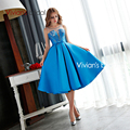 Vivian's Bridal Elegant Short Scoop With Flower Pattern Bridesmaid Dresses Off the Shoulder vestido de festa TB019
