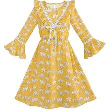 Flower Girl Dress Chiffon Bell Sleeve Floral Elegant Dress 2020 Summer Princess Wedding Party Dresses Kids Clothes Size 7-14 exaggerate bell sleeve pencil dress