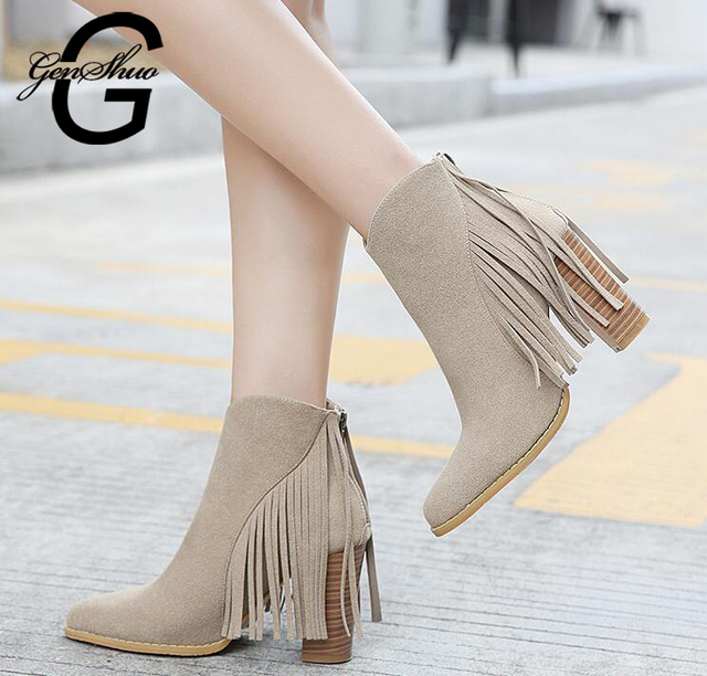 GENSHUO Fashion Women Boots Black Ankle Boots For Women Shoes Sexy Fringe Ladies Shoes High Heels Pointed Toe Women Winter Boots