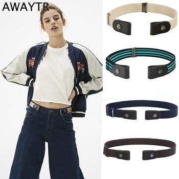 AWAYTR Harajuku No Buckle Women Belt Fashion Canvas Leather Belt for Men Unisex Elastic Invisible Without Buckle Belt Waistband цена 2017