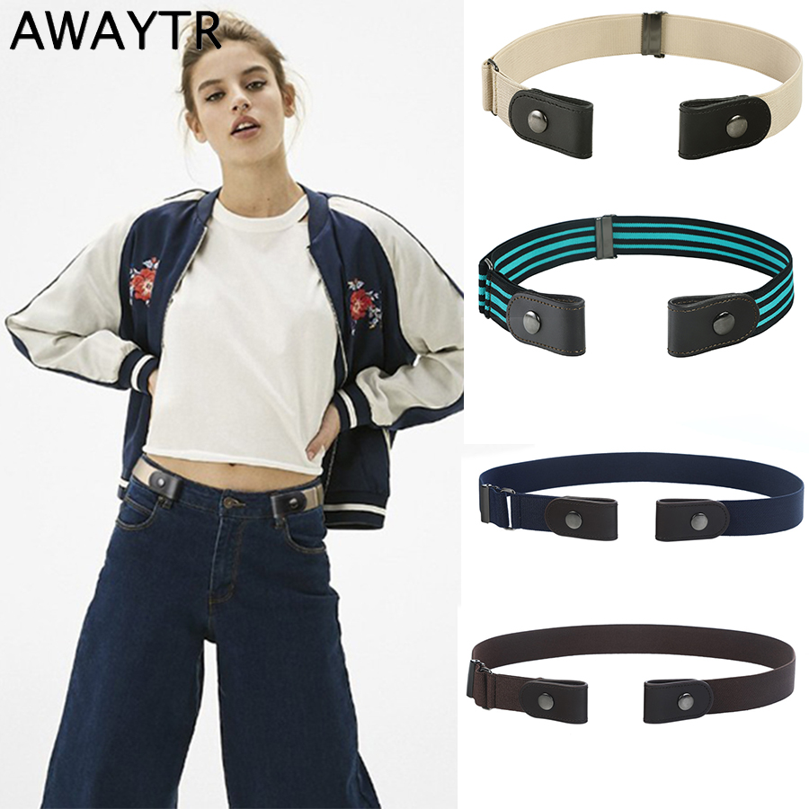 AWAYTR Harajuku No Buckle Women   Belt   Fashion Canvas Leather   Belt   for Men Unisex Elastic Invisible Without Buckle   Belt   Waistband