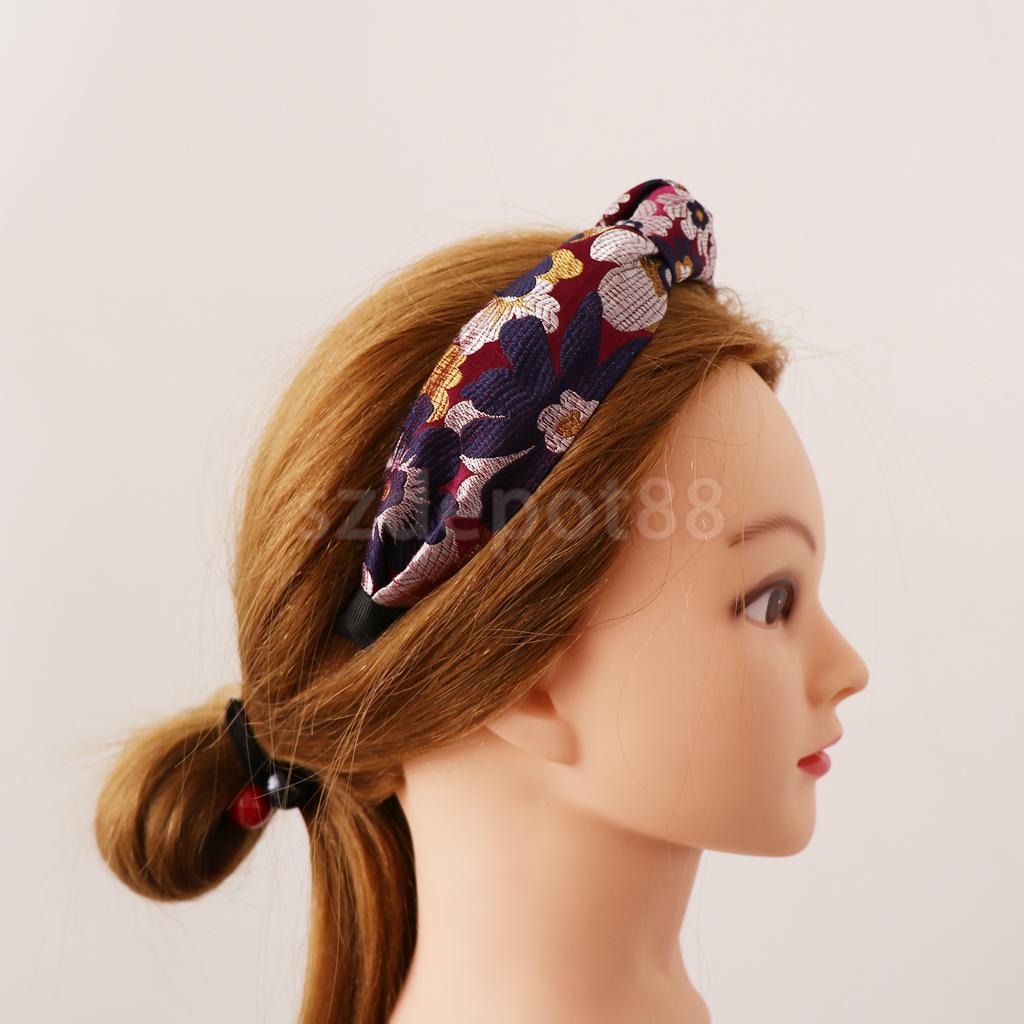Womens Cloth Embroidery Knot Headband Flower Beach Hair Band Wide Headwrap Turban Hair Style Making Accessories
