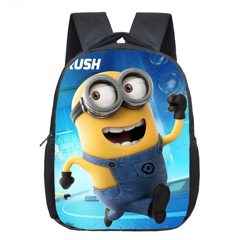 12 Inch Cartoon Minions Kids School Backpack Bag Child Backpacks for Girls Boys Cool Schoolbag Children Mochila Escolar Infantil high quality cool 3d spiderman cartoon plush school bag fashion cute backpack gift for children mochila infantil hot sale