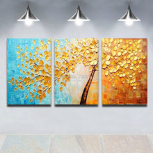Thick Textured 100% Hand painted Modern Abstract Oil Painting On Canvas Wall Art 3 panels golden tree leaf painting Gift