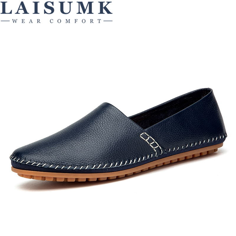 Mocassins Grande Taille Shooes White brown En Bleu Conduite 47 Breathable brown Laisumk black Noir Hommes Casual Cuir Sur Breathable Véritable Appartements 38 blue black Breathable Slip Blanc Breathable Breathable white blue yellow Mâle HY6WWBn