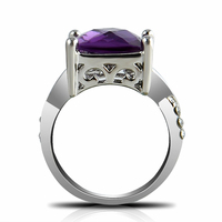 Hot 1pc New Silver Ring Purple Large Zircon Square Plated Crystal Engagement Wedding 3 Size 2 color 4