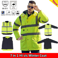 SFvest EN471 ANSI/SEA 107 AS/NZS Hi vis waterproof parka windbreaker workwear rain coat reflective safety jacket
