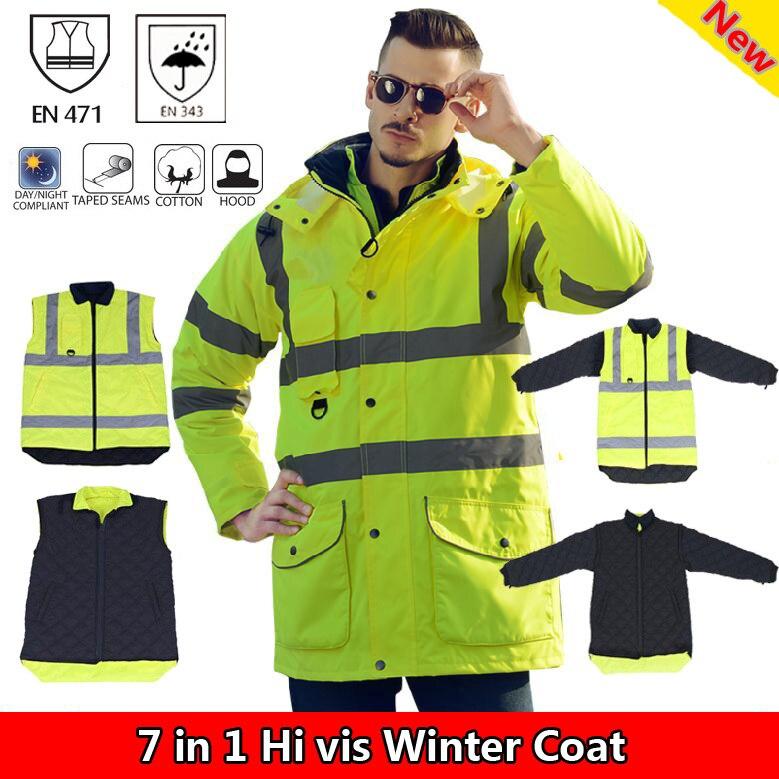 Sfvest EN471 ansi/море 107 как/NZS hi vis водонепроницаемая куртка ветровка спецодежды плащ дождевик светоотражающие безопасности куртка
