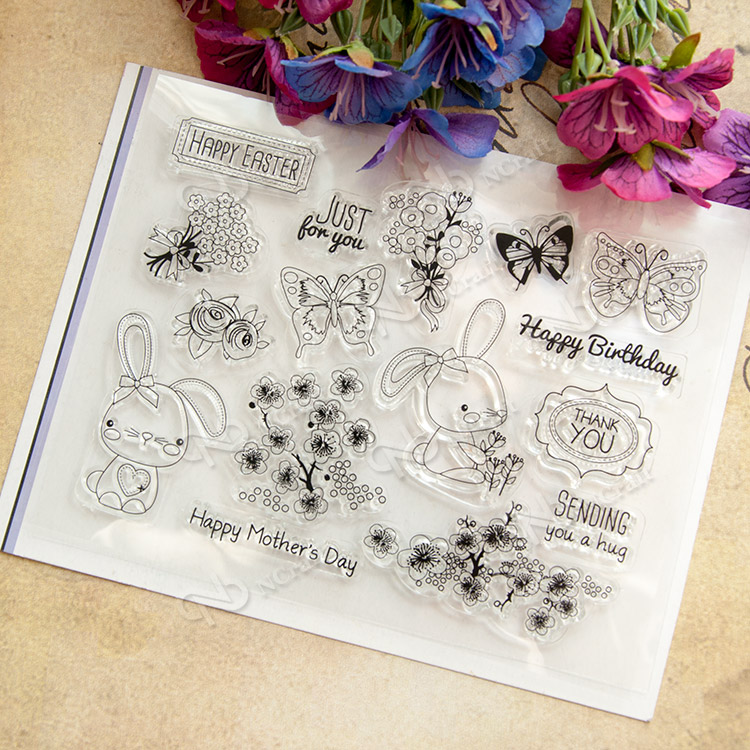 Birthday Rabbit Transparent Clear Silicone Stamp/Seal For DIY Scrapbooking/Photo Album Decorative Clear Stamp Sheets A244