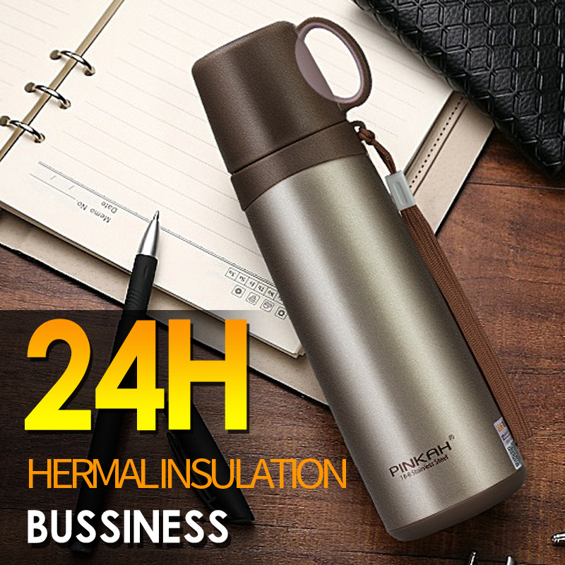 PINKAH 500ML Stainless steel Insulated thermal bottle Business Vacuum Flask Tea Cup With Lid Strainer Thermo mug
