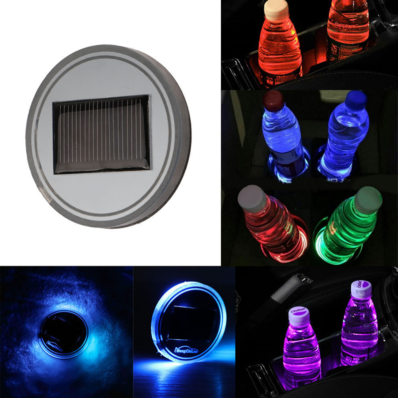 Rubber Car Anti-slip Mat Car Solar Led Light Lamp Cup Holders Mat Dashboard Pad Bottle Drinks Insert Interior Car Accessories Preventing Hairs From Graying And Helpful To Retain Complexion Automobiles & Motorcycles