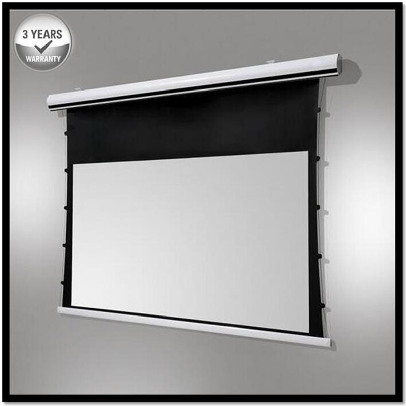 Prémio Tab-Tensão, 120-inch 16:9, 4 K Elétrica Tensionada Motorizada Projetor Tela de Projeção, HD Progressive Branco