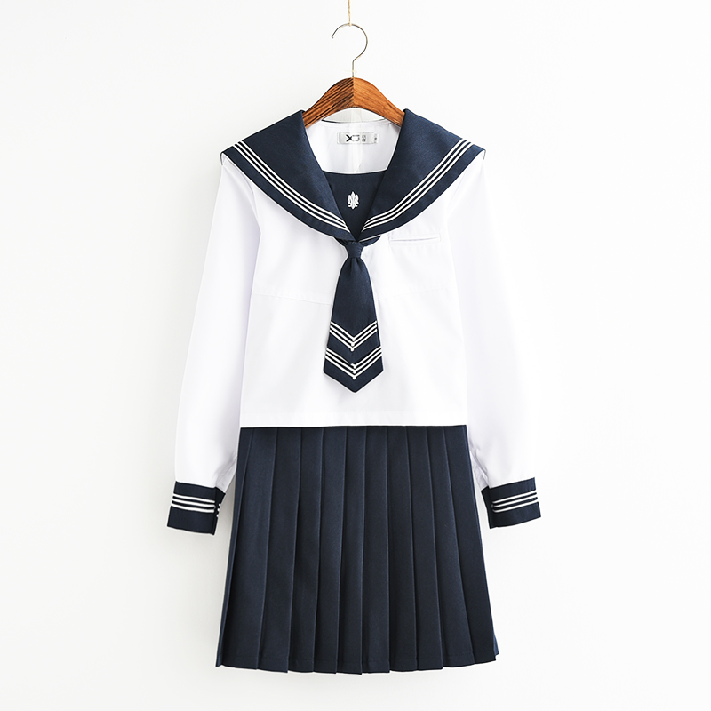 Svitania Japanese School Uniforms Anime COS Sailor Suit Navy Style Students Clothes for Girl Long Sleeve