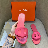 Net red slippers female summer women Pig nose slippers 2019 new fashion wild Wearing h sandals Flat bottomed word
