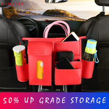 hot deal buy e-four car carrier storage bag & net nylon pu leather upgrade save space armrest stowing tidying bag keep file cup phone in cars