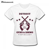 Biotumecos Summer Detroit Guns And Ammo Is Top Seller T-Shirt Cotton Short Sleeve Round Neck Tee Tops Plus Size S-XXL WTWQ112