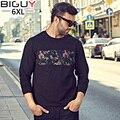 Повседневная Большой Высокий Мужчина Одежда 2016 Осень Новый Хлопок O-образным Вырезом черный Лоскутное Печати Цветочные футболки Для Мужчин 5XL 6XL 1041Txu