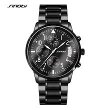 SINOBI Sports Chronograph Men s Pilots Wrist Watches Black Steel Watchband Luxury Brand Males Quartz Clock